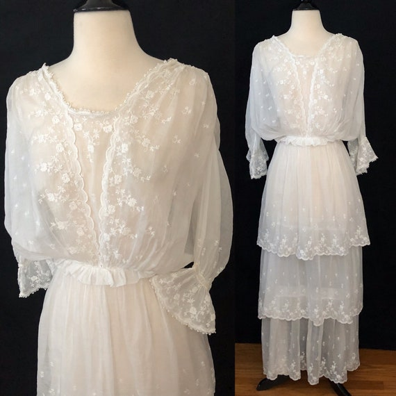 Antique Edwardian Embroidered Tiered Cotton Dress… - image 7