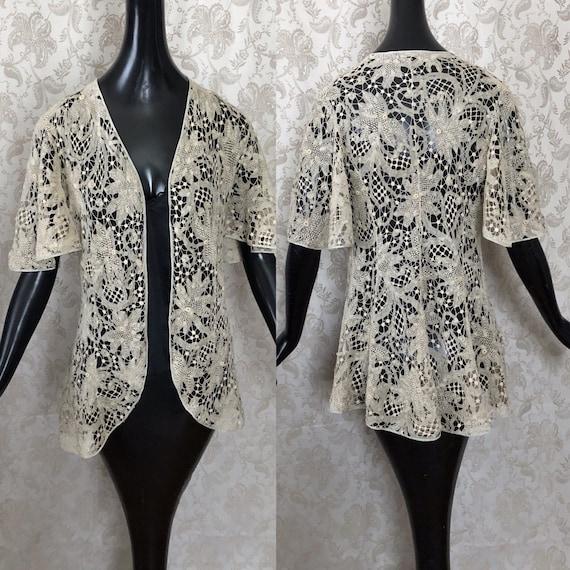 Antique Edwardian Tape Lace Jacket Coat Handmade B