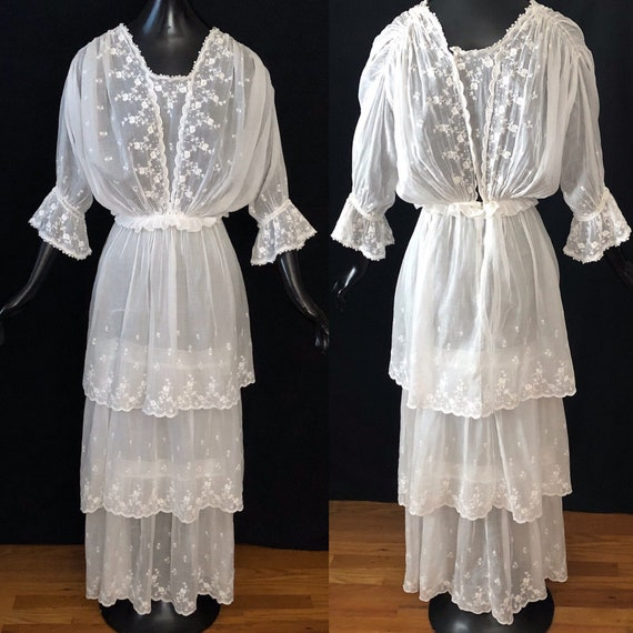 Antique Edwardian Embroidered Tiered Cotton Dress