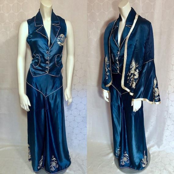 Vintage 1930's Blue Silk Satin Embroidered Dragons