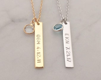 a9e3e4a6dab8c7 Custom Hand Stamped Name Date Swarovski Crystal Birthstone Birth Stone Tag  Necklace, Gold Silver Vertical Nameplate Bar, Birthday Gift