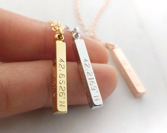 Custom Coordinates Necklace, Location GPS Coordinates, Latitude Longitude, Vertical 4 Sides Necklace, Wedding Gift, Anniversary Gift