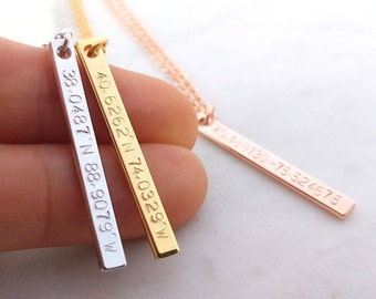 Custom Coordinates Necklace, Location GPS Coordinates, Latitude Longitude, Gold Silver Rose Gold Vertical Necklace Anniversary Gift