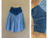 27 90 s High Waisted Denim Skirt 90 s Denim Ruffled Skirt Maxi Skirt Vintage Women s Skirt Size 27 90 s Grunge Skirt Cotton