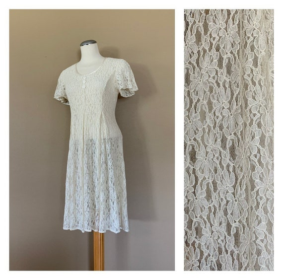 90's White Lace Dress Sheer Large Lace Dress / Gru