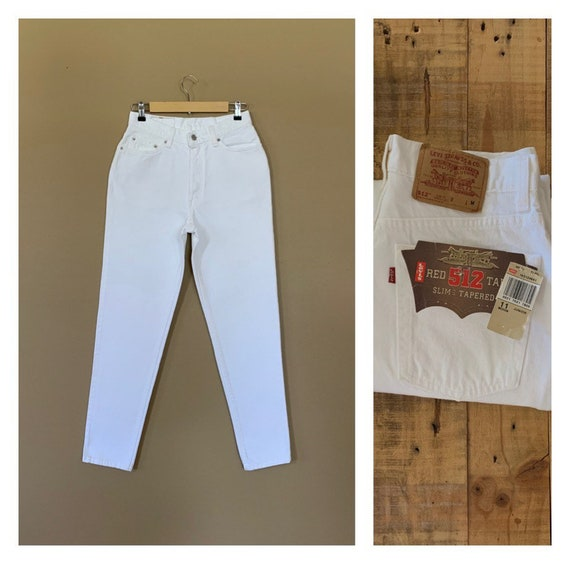 """29"""" White Levis Jeans High Waisted Tapered Leg / L"""