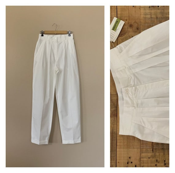 "28/29"" White Pants High Waisted Cotton / Women's C"