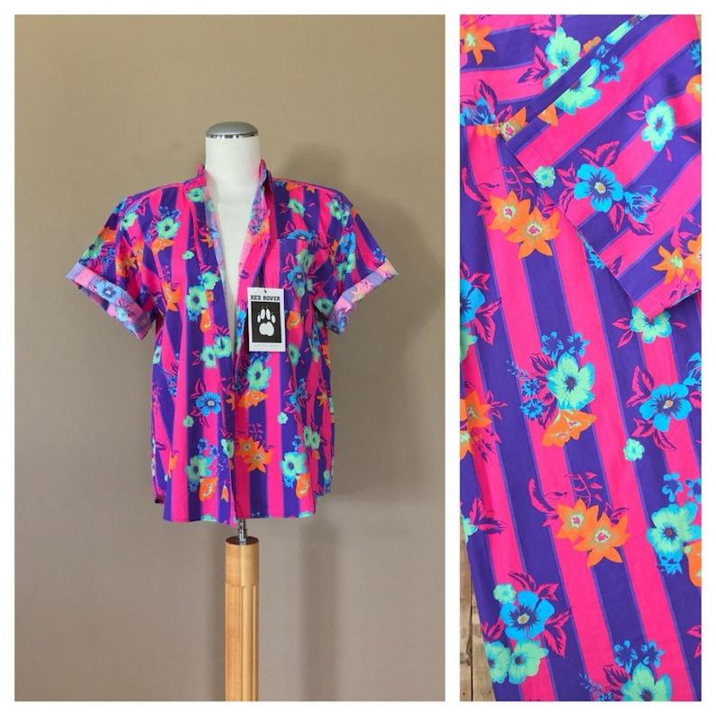 33e7f273 90's Shirt Women/Fresh Prince Shirt Floral Colorblock   Etsy