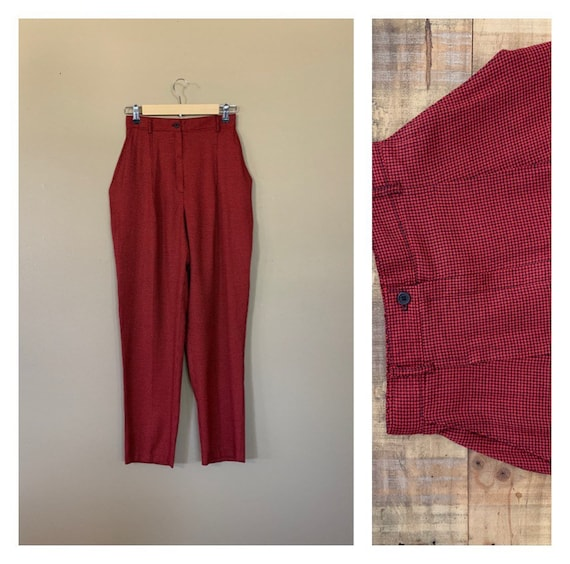 90's Pants High Waisted Plaid Tartan / Red and Bla