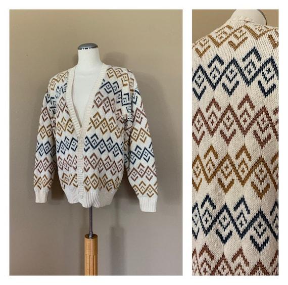 90s Oversized Sweater Cardigan Medium / Vintage Kn