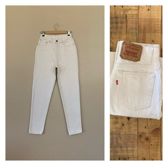 """27"""" Levis 512 White High Waisted Jeans/90s Jeans/V"""