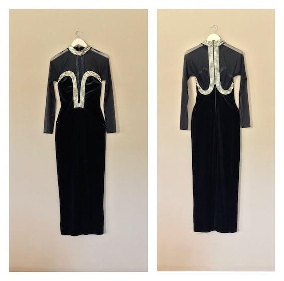 Formal Black Tie Dress / 80s Prom Dress / 90s Prom