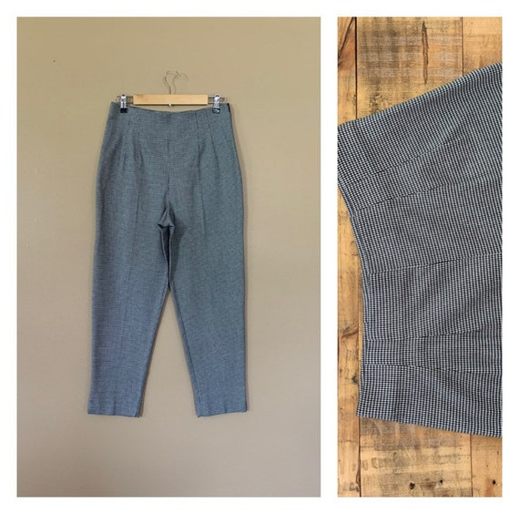 90's Large High Waisted Pants Plaid Tartan / Blac… - image 1