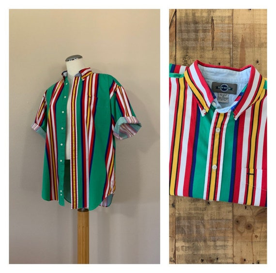 90's Oversized Striped Button Down Shirt XL / Over