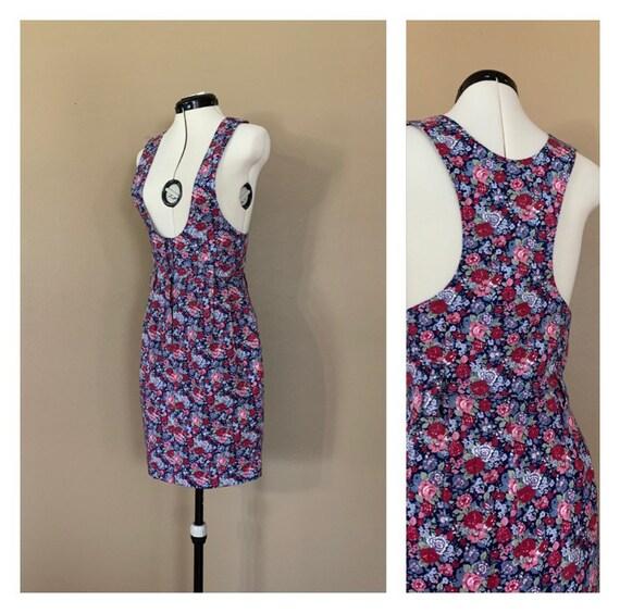 90's Floral Jumper Dress XXS / 90s Overall Dress /