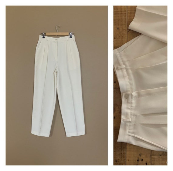 "29"" High Waisted Pants White 80's Pants White / Po"