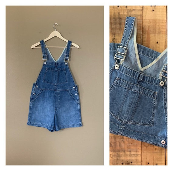 90's Gap Denim Overall Shorts Small / Gap Overalls