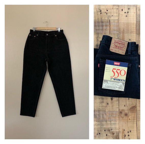 "33/33"" Black Levis Jeans High Waisted Tapered Leg"