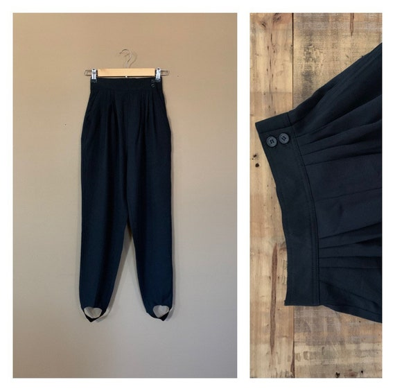 90's Pants High Waisted Stirrup Black Small / Blac