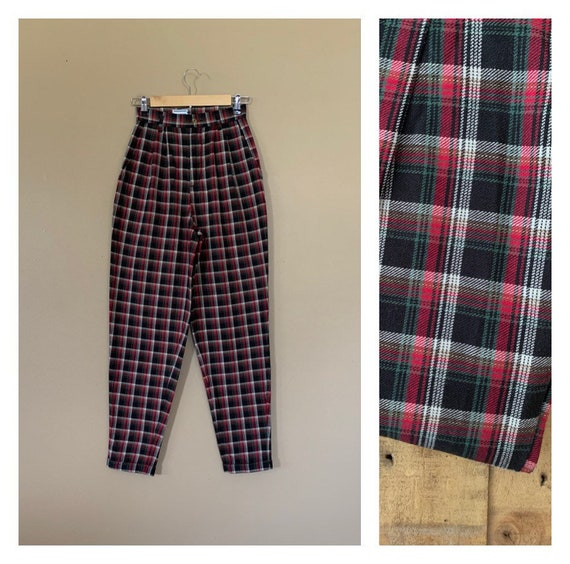 90's Pants High Waisted Cotton Plaid Tartan / Plea