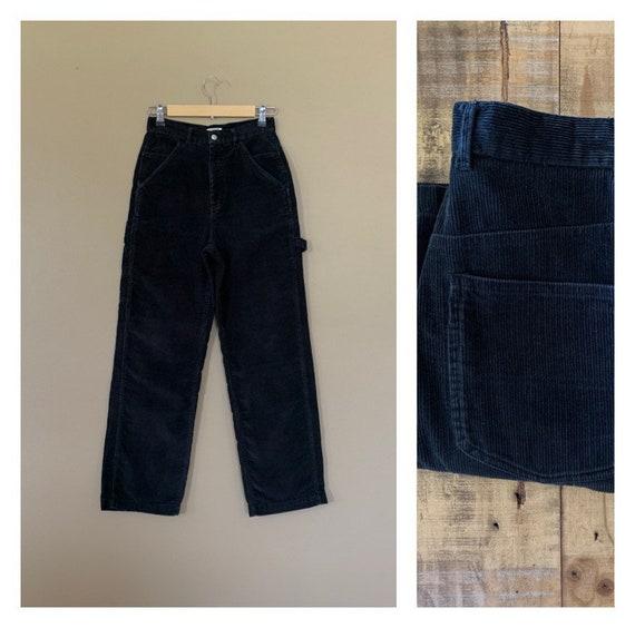 "27"" High Waisted Black Corduroy Pants / Womens Cor"