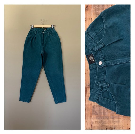 "25"" Sasson High Waisted Jeans Green / 90s Womens J"