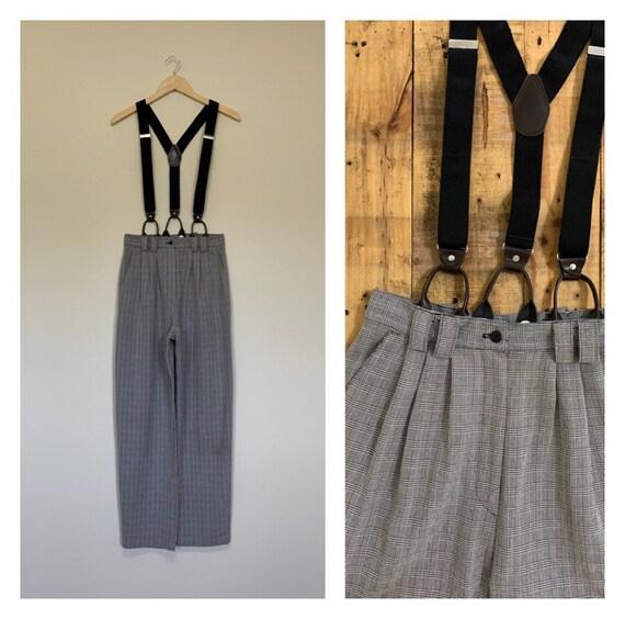 "28"" High Waisted Suspender Pants Plaid / Vintage P"