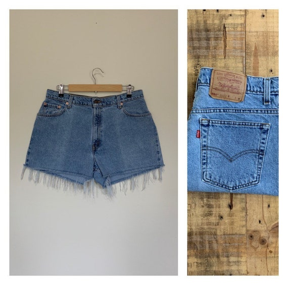 """34"""" Levis High Waisted Shorts/90s Levis Shorts/Lev"""