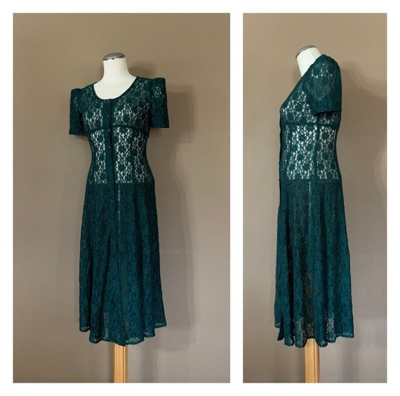 90s Green Lace Babydoll Dress Sheer / Lace Dress /