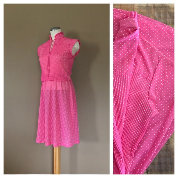 80s Dress Pink Polka Dot / 80s Sheer Dress / 80s D