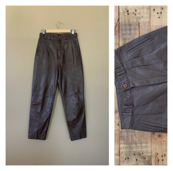 """80's Brown Leather Pants Tapered Size 28"""" 29"""" / 90"""