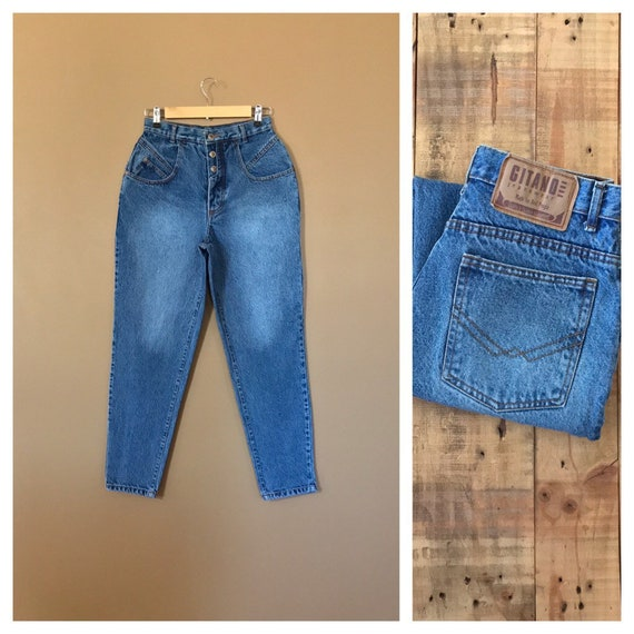 "27"" High Waisted Jeans/Button Fly Jeans/Gitano Jea"