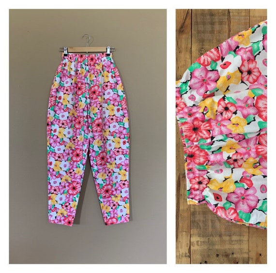 90's Pants High Waisted Floral / Pull On Floral Co