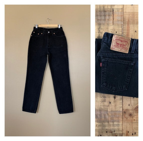 """27/28"""" Levis 512 Black High Waisted Jeans/90s Jean"""