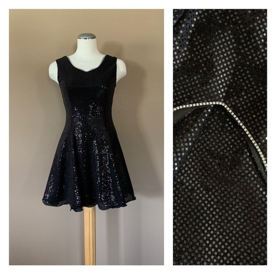90s Black Prom Dress Sequin Black Prom Dress / Siz