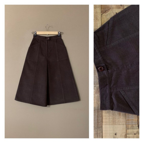70's Wide Leg Corduroy Pants High Waisted Cropped
