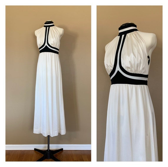 70's Halter Dress Small / 70's Long Halter Dress W