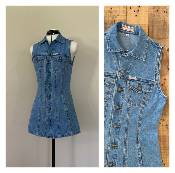 90's Guess Denim Minidress Small / 90s Dress Denim
