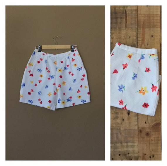 "27"" White Cotton High Waisted Shorts/Floral Shorts"
