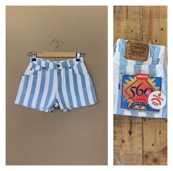 "25"" Levis High Waisted Shorts Denim Striped / 90s"