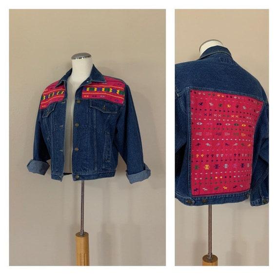 Vintage Denim Jacket Aztec Embroidered /  Vintage