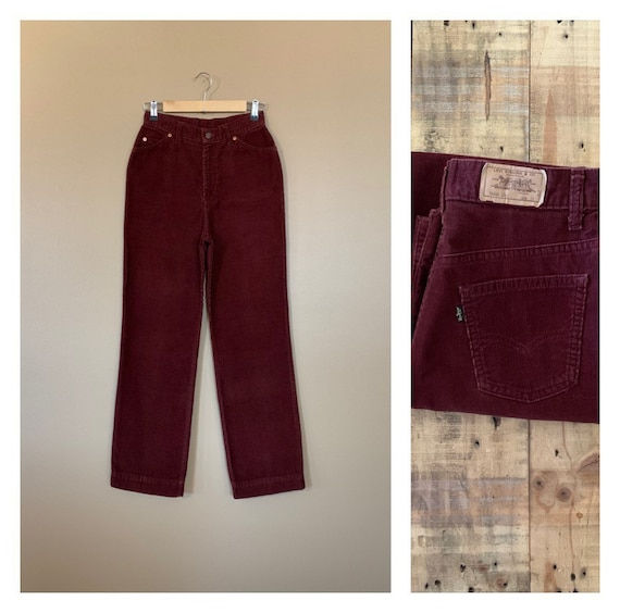 """27"""" High Waisted Levis Corduroy Pants 1970's Brown"""