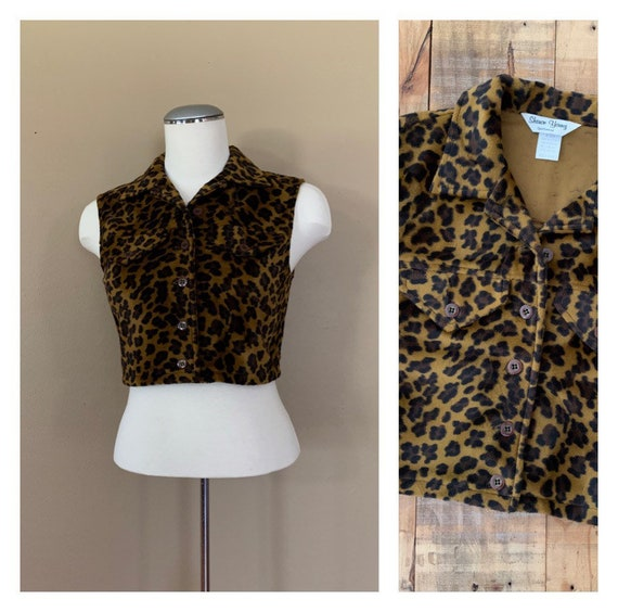 90's Crop Top Leopard Print / Velvet Crop Top Vint