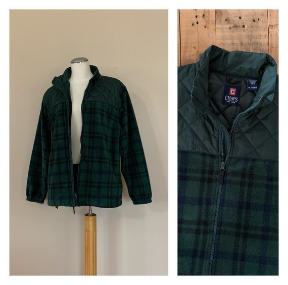 90's Plaid Fleece Jacket XL / 90's Chaps Oversized