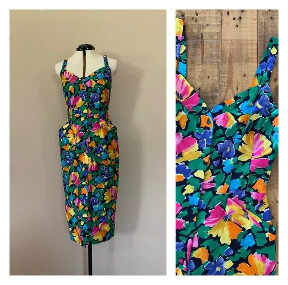 90's Floral Dress Size 8 / 90s Maxi Dress / Vintag