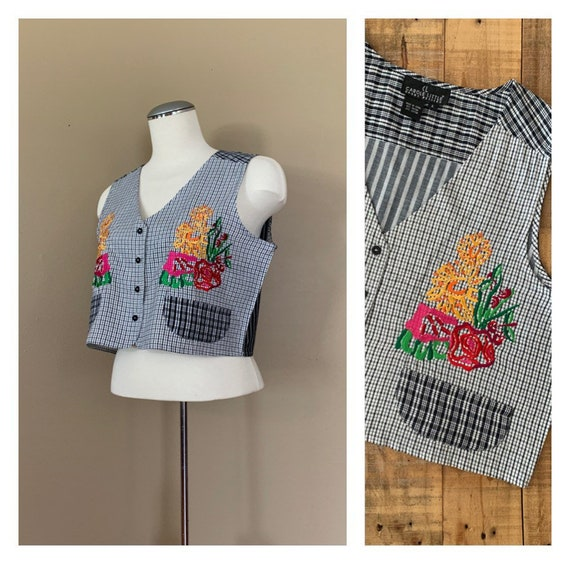 90's Plaid Crop Top Large Embroidered / 90's Tank