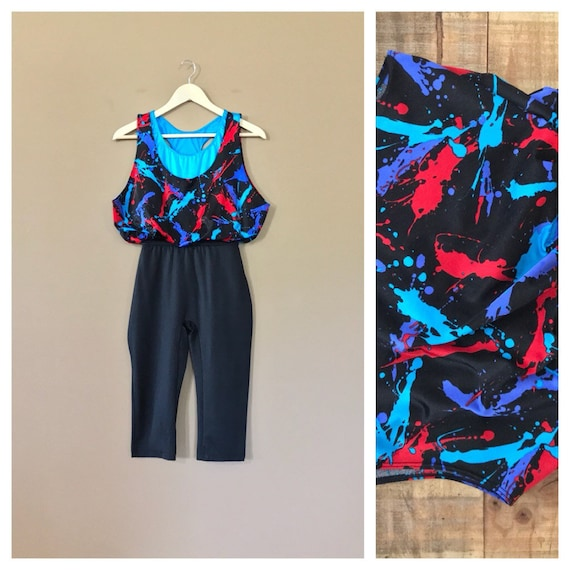 90s Exercise Workout Clothes / 90s Leotard / 90s A
