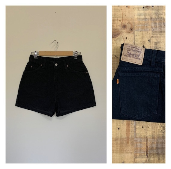 "29"" Black Levis 912 High Waisted Shorts Denim / Bl"