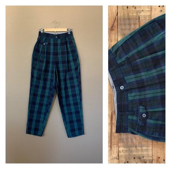 90's Plaid Tartan Pants High Waisted Cotton Plaid
