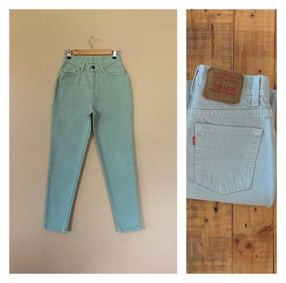 "27/28"" Levis 512 High Waisted Jeans Mint Green / V"